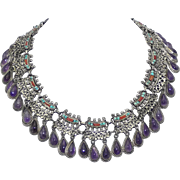 Mexican Rivera Amethyst Drops Turquoise Coral Sterling Silver Necklace