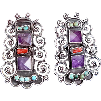 1940's Rivera Amethyst Turquoise Coral Sterling Silver Mexican Earrings