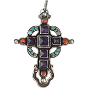 Rivera Jeweled Cross Sterling Silver Mexican Pendant