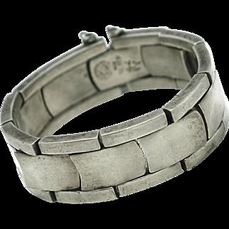 Heavy RTA Modernist Mexican Sterling Silver Bracelet