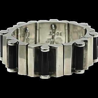Heavy RTA Mexican Modernist Onyx Cylinders Sterling Silver Bracelet