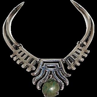Rare Salvador Teran Sterling Silver & Stone Mexican Necklace #158