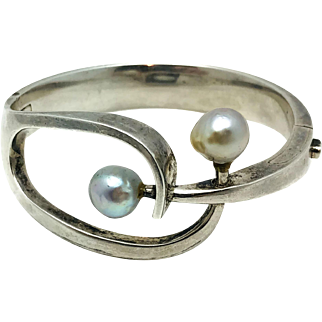 Sigi Pineda Modernist Pearl Sterling Silver Taxco Mexican Bracelet