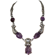 Rare William Spratling Taxco Mexican Carved Amethyst Tulip Silver Necklace