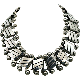 1942 William Spratling Heavy Taxco Mexican Silver Necklace 125GR First Design Period