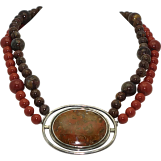 "18"" Heavy Vintage Sterling Silver Red Leopard Jasper Stone Bead Necklace"