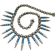 129Gr Taxco Mexican Turquoise Sterling Silver Needles Necklace 18'