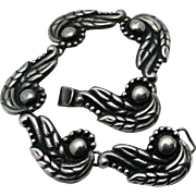 1940's Taxco Mexican Repoussé Sterling Silver Winged Bracelet