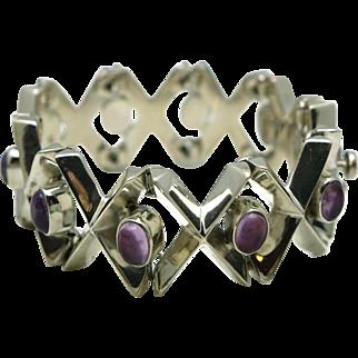 Heavy Taxco Mexican Modernist Amethyst Sterling Silver Bracelet Signed 102 GR