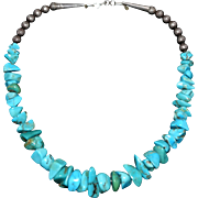 Vintage Navajo Native American Graduated Turquoise Nugget Bench Beads Cones Necklace