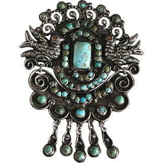 1930's-40's Signed Mexican Jeweled Repousse Sterling Silver Doves Pendant & Pin