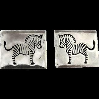 Vintage Mexican 970 Silver Zebra Cufflinks