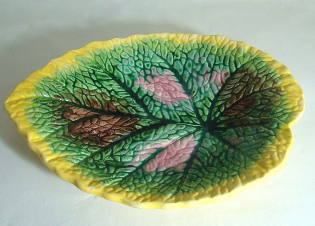 Majolica Begonia Pattern Plate – Late 1800's