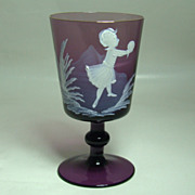Mary Gregory Amethyst Wine Glass – Girl at Play