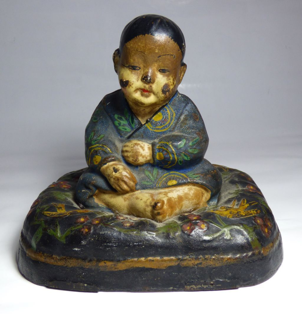 Cast Iron Cold Painted Oriental Boy Doorstop – Early 1900's