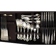 Wallace Sterling Silver Grand Baroque Pattern – 8 Place Settings Service for 12 Flatware – 1941