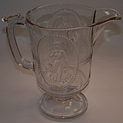 Early American Pattern Glass Pitcher Minerva/Cupid & Venus Pattern