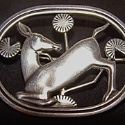 Georg Jensen Art Nouveau Kneeling Deer Sterling Silver Brooch – Design #256