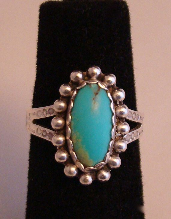 Native American Sterling Silver Ring with Turquoise Stone