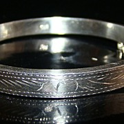 Vintage Sterling Silver Bangle Bracelet with Decorative Engraving