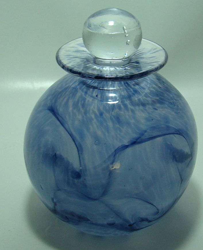 Hand Blown Art Glass Perfume Bottle with Stopper – Signed Jangles - Scotland