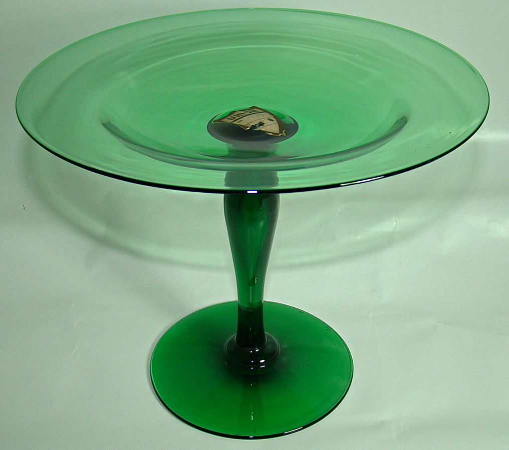 Union Glass Company Deep Green Compote with Original Label – Early 1920's