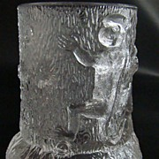 "Early American Pattern Glass Toothpick Holder –  ""Three Monkeys on a Stump"" Pattern – Circa: Late 1880's"