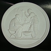 Royal Copenhagen Bisque Plaque – The Old Couple – Circa: 1969 - 1974