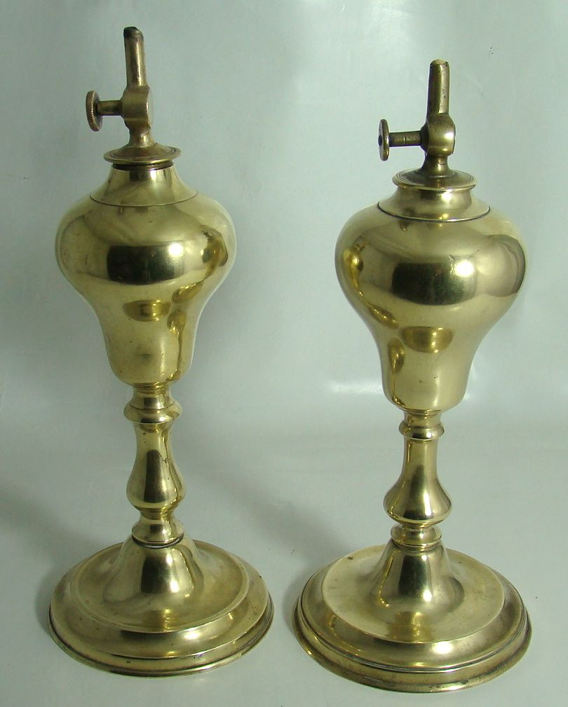 Pair of French Brass Whale Oil Lamps – Circa: Mid 1800's
