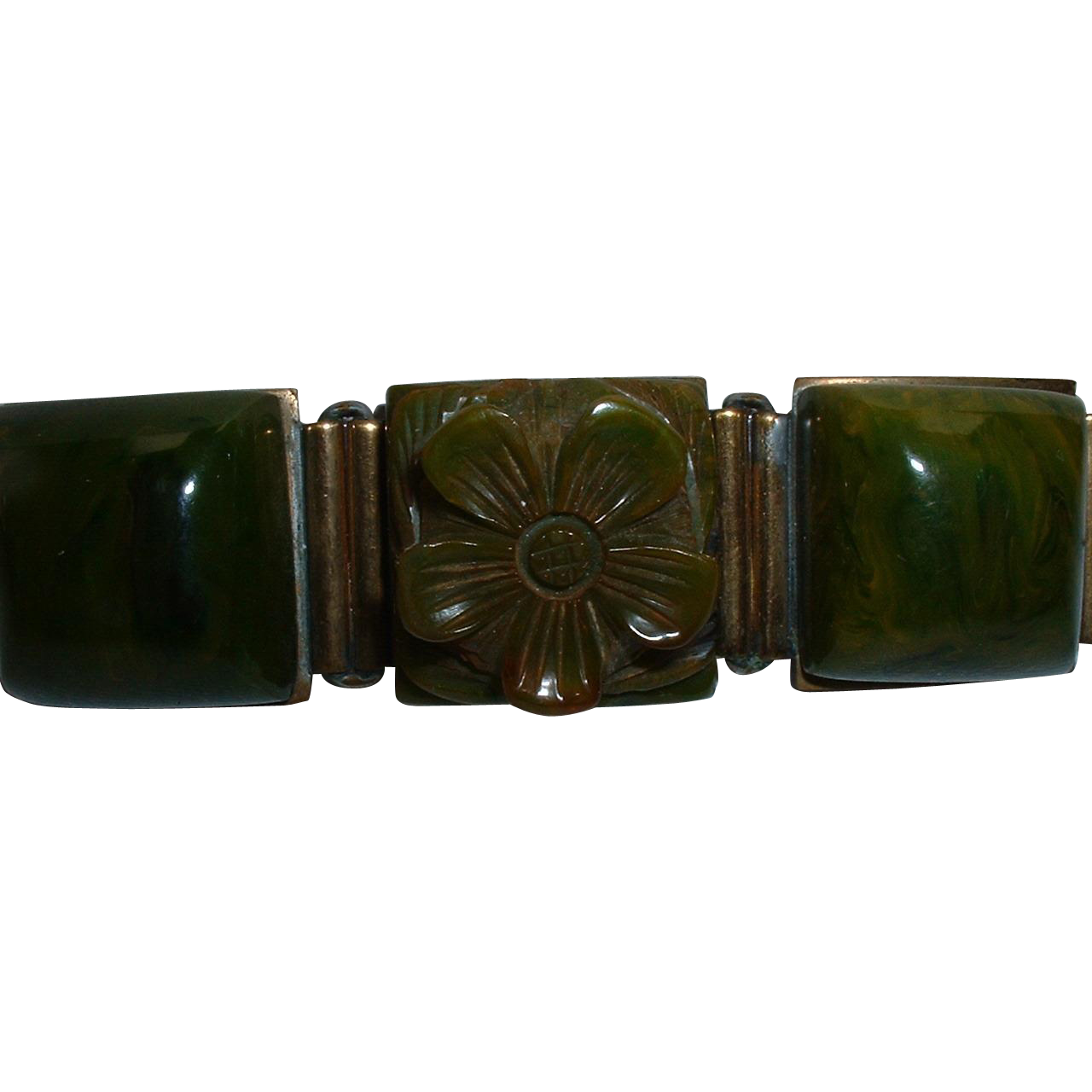 Vintage Mottled Green BAKELITE Floral And Square Pin Brooch Backed From Littl