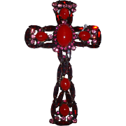 Vintage Signed Alice Caviness Huge Red Rhinestone Religious Cross Pin Brooch and Pendant
