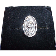 1900's 14K White Gold Diamond Ring