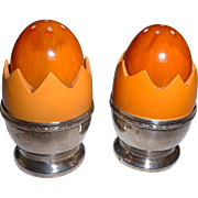 Vintage Outrageous BAKELITE Butterscotch Cracked Eggs in Sterling Silver Egg Cups Salt & Peppers