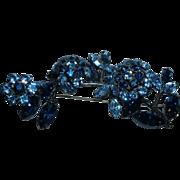 Vintage Unsigned Designer Hi-End Blue Rhinestone Trembler Brooch Pin