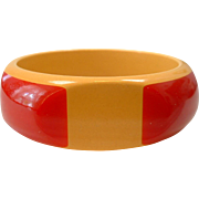 Vintage BAKELITE Fantastic Octagon Shaped Cream with Red Cut Corners Bangle - One for the Books