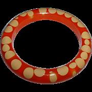 Vintage Orange and Cream Random Dot BAKELITE Bangle Bracelet