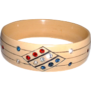 Vintage Celluloid Rhinestone Sparklie Bangle Bracelet