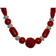Vintage 1940's Red Carved Galalith Plastic Necklace