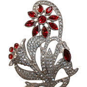 Vintage Red and White Rhinestone Flower and Stem Pn Brooch