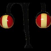 Vintage BAKELITE Striped Clip Earrings
