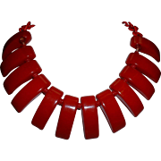 Vintage Cherry Red BAKELITE Dangling Necklace