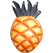 Bakelite and Lucite Figural Pineapple Fruit Pin Brooch