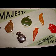 Vintage BAKELITE Fruit and Vegetable Buttons MOC