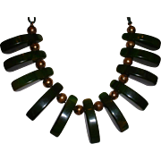 Vintage BAKELITE Mottled Green Swirled Dangle Necklace