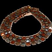Vintage Unsigned SCHREINER Gray/Topaz/Blue Rhinestone Choker Necklace
