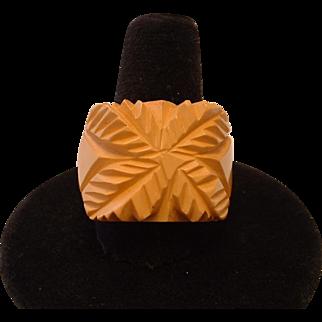 Vintage BAKELITE Carved Cream Ring