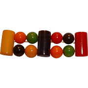 Vintage BAKELITE Colorful Bead and Tubes Brooch Pin