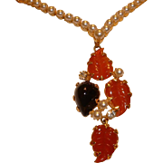 Vintage Unsigned Schreiner Fall Leaves and Faux Pearls Rhinestone Necklace