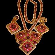 Vintage Pink Purple Rhinestone Medallion Necklace and Earrings Set