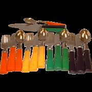 Vintage Minty Fiesta Colors BAKELITE Flatware in Original Box